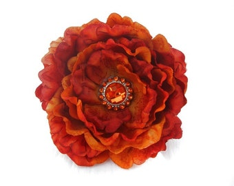 Autumn Flower Dog Collar Accessory in Harvest Orange