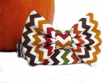 Bow Tie Dog Collar - Fall Chevron in Harvest Gold Brown Cranberry Green