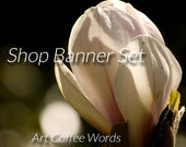 Etsy Shop Banner Set Set - Sunny Magnolia - Blank Premade Banner - INSTANT Download - Store Banner and Avatar