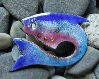 Enamel Fish Pin - Blue
