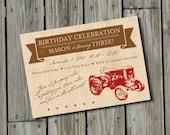 DIY Printable Vintage Red Tractor Birthday Invitation DIGITAL FILE