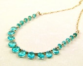 Neon Blue Apatite on Gold-fill Necklace - N427