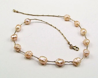 Rare & Exotic Druzy Freshwater Pearl Necklace - N153