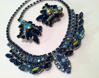 SET Necklace and Clip on Earrings BLUE Mad Men 50s Gorgeous Bridal Bride Gift Sparkling Rhinestones SET Authentic Genuine Vintage Jewelry