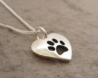 Cute Pawprint Heart Handmade Sterling Silver Pendant on Chain