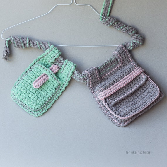 Ready to Ship Sale - Hands-Free Hiking Pouches in beige grey  and menthol green - 25% off
