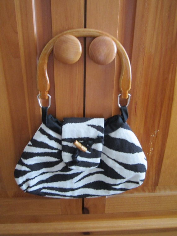 CLEARANCE - Black and White Zebra Purse Handbag with Black Satin Lining