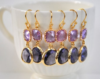 Purple Earrings Lavender Glass Teardrop 14k gold plate, bridesmaids gift, bridesmaids earrings set of 1, 2, 3, 4, 5, 6, 7, 8, 9, 10, 11, 12