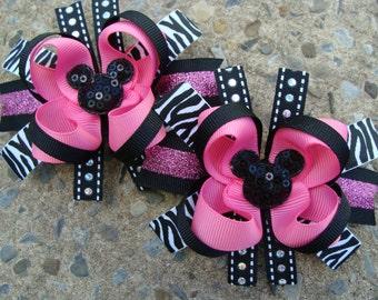 2 Zebra Minnie Mouse Hair Bows 2 pigtail hair bows