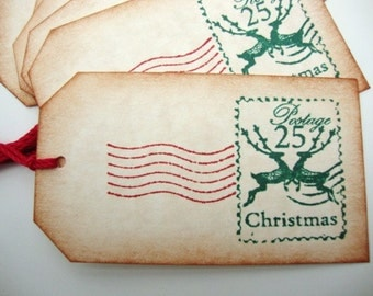 Christmas Gift Tags Reindeer Postage Rustic Vintage Style