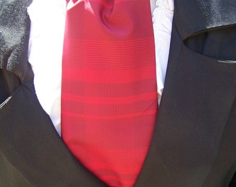 Cravat, Red Plaid Ascot Mens Victorian Tie