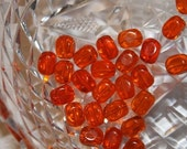 Vintage Pumpkin Orange Beads - Clear Glass - Rounded Oval