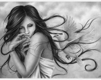 Careless Whisper Dove Bird Dreaming Art Print Glossy Emo Fantasy Girl Zindy Nielsen