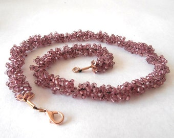 Pink Color Necklace, Gift For Women, Gift For Mother, Holiday Gift, Necklace, Gift Idea, Knitting Jewelry
