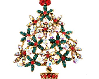 Crystal Christmas Tree Flower Pot Brooch/Pendant  1000792