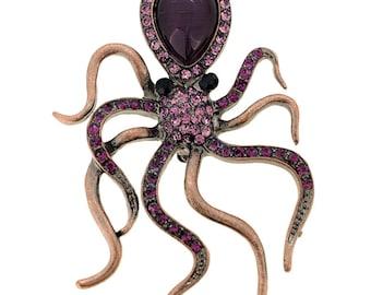 Amethyst Vintage Style Octopus Pin Austrian Crytsal Pin Brooch 1002951