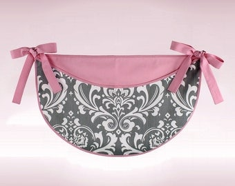 Gray and White Damask Toy Bag with Pink