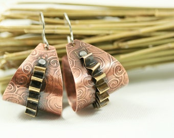 Mixed Metal Copper and Brass Hoop Earrings