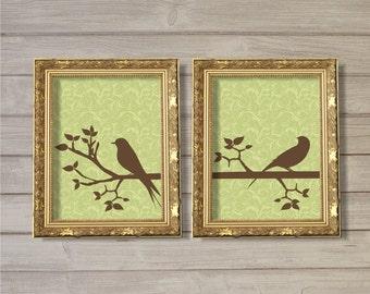 Birds on a Tree Branch - 8x10 - Digital Printable Poster, Flourish, Natural, Nature, Green, Home, Interior Decor, Art, Download, Print JPEG