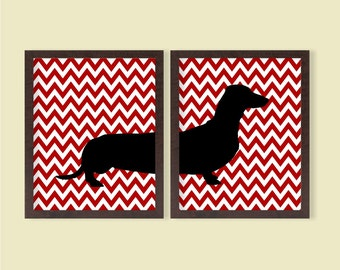 Dachshund Poster - Red Chevron, Set of 2 - 8x10 - Daschund, Instant Download, Digital Printable Poster, Wall Art Home Decor, Dog, Pet Lover