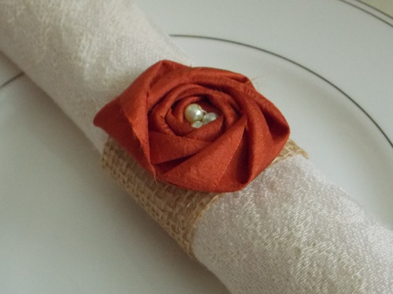 Burnt Orange Fall Decor Wedding Decor Burlap Napkin Rings Burlap Flower Rustic Shabby Chic Wedding Decor Table Setting Place Setting