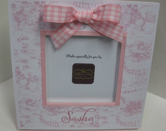 Toile and Gingham Baby Girl Personalized Frame