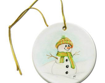 Artist Original ACEO Art  Print of Jolly Snowman on a Ceramic Hanging Ornament