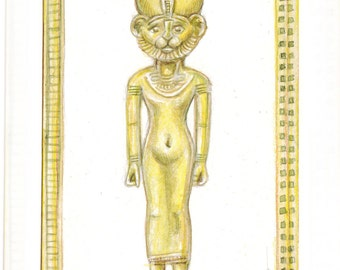 ACEO Original ..BASTET .Fine Art Collectible miniature painting ....watercolour card ancient Egyptian religion
