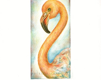 Original 8x10 Watercolour Flamingo.. NOT A PRINT ..Original Painting