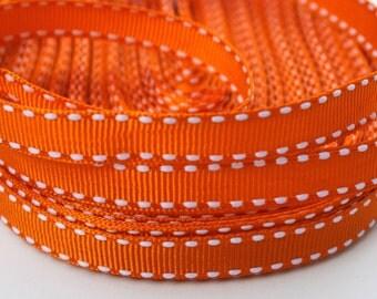 Orange Saddlestitch Grosgrain Ribbon 3/8 Inch 9mm