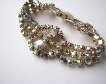 Vintage Bracelet AB Crystal 50s 60s, Large Elegant Jewelry