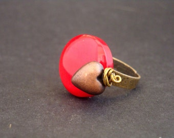 Red Pill Ring with Bronze Heart by Dryw on Etsy
