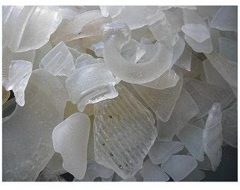 One Pound Wholesale Sea Glass - White Bulk Beach Glass
