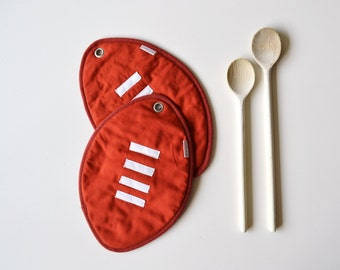 football rugby ball kitchen potholders - fun potholders - ball game - football - foodie gift - fathersday gift - gift for him - kitchen fun