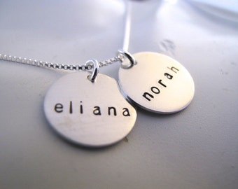 2 Name Brag Necklace in Sterling Silver  -  Great Gift for Mom or Grandma