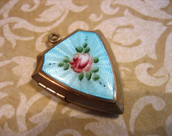 Vintage Gold Filled Guilloche Enamel Shield Locket