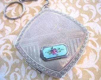 Art Deco Silver Plate Guilloche Finger Ring Compact Purse