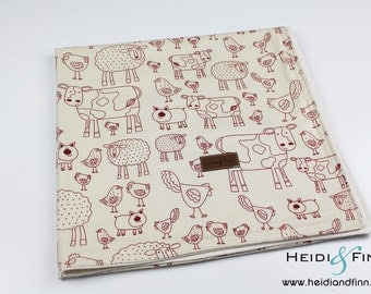 extralarge Modern animals baby blanket organic flannel cotton LIMITED  swaddle blanket quilt ivory red