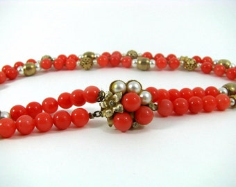 Coral, Pearl and Gold Bead Costume Jewelry Necklace with pearl, bead and rhinestone embellished clasp