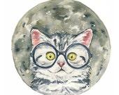 Original Cat Watercolor Painting - Moon, Gray Kitten, Nursery Art, 11x14 Original Watercolor