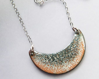 Gold and gray crescent moon necklace Enamel bib necklace pendant Unique bohemian jewelry