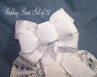Classic White Wedding Bows Set of 12 Handmade Decoration for Pew Aisle Anniversary Party or Bridal Shower