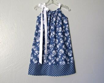 Denim Blue Little Girls Pillowcase Dress - White Flowers & Polka Dots on Navy Blue - Sizes 12m, 18m, 2T, 3T, 4T, 5, 6, 8, or 10