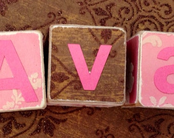 Ella and Ava pretty flower personalized and customized wooden blocks