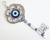 Key Wall Hanging Amulet Handmade Turkish Silver Plated Evil Eye Bead