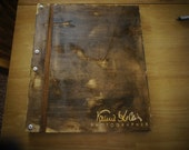 14 x 11P - The Distressed Wooden Birch Portfolio WITH 10 Sheet Protectors & Custom Engraving