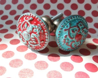 2 Red and Turquoise Blue Bohemian Knobs Aged Silver Base Southwestern Traditional Farmhouse Cottage Pair of Custom Hardware  B-18