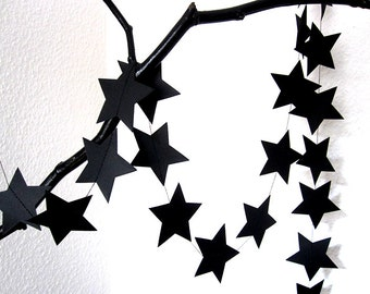 STAR Garland in BLACK, Paper Garland, Wedding Garland, Wedding Decoration, Paper Decoration, Christmas Decoration by renna deluxe