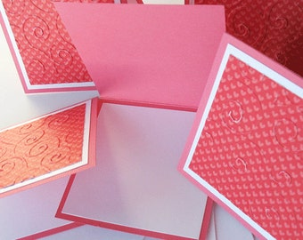 Valentine Miniature Note Cards:  Handmade Blank / 5 Pack Set - Tiny Kisses