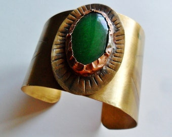 Green Agate Stone Midas Touch Brass Cuff Bracelet